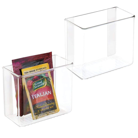 mDesign Plastic Adhesive Wall Mount Storage - 2 Pack
