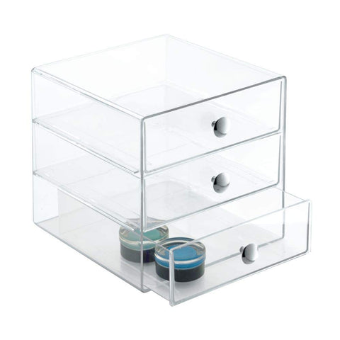 "iDesign 3-Drawer Plastic Vanity, Compact Storage Organization Set for Dental Supplies, Hair Care, Bathroom, Dorm, Desk, Countertop, Office, 6.5"" x 6.5"" x 6.5"", Clear"
