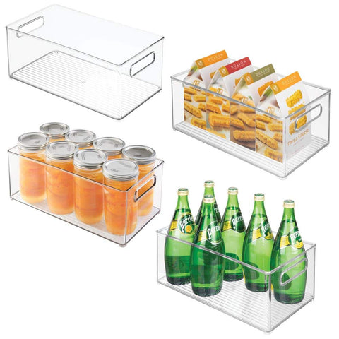 "mDesign Deep Plastic Kitchen Storage Organizer Container Bin with Handles for Pantry, Cabinets, Shelves, Refrigerator, Freezer - BPA Free - 14.5"" Long, 4 Pack - Clear"
