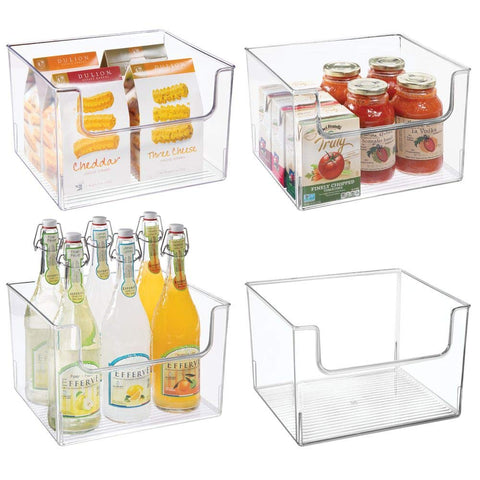 "mDesign Plastic Open Front Food Storage Bin for Kitchen Cabinet, Pantry, Shelf, Fridge/Freezer - Organizer for Fruit, Potatoes, Onions, Drinks, Snacks, Pasta - 12"" Wide, 4 Pack - Clear"