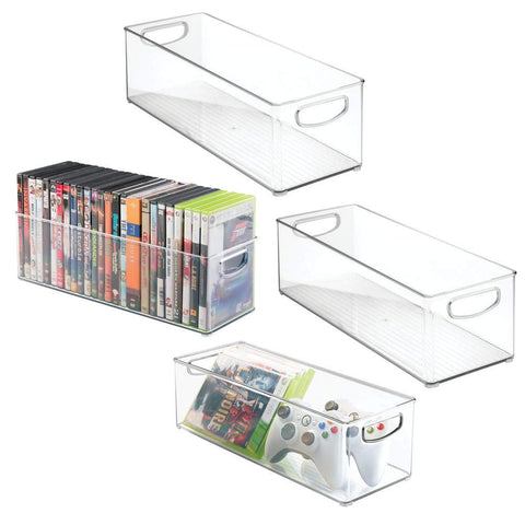 mDesign Plastic Stackable Household Storage Organizer Container Bin with Handles - for Media Consoles, Closets, Cabinets - Holds DVD's, Video Games, Gaming Accessories, Head Sets - 4 Pack - Clear