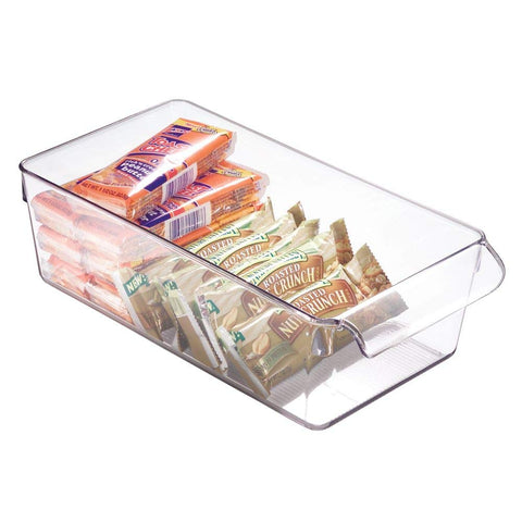 "iDesign Linus Plastic Fridge and Freezer Storage Bin with Handle, Clear Container for Food, Drinks, Produce Organization, BPA-Free, 11.5"" x 6"" x 3.5"", Medium"
