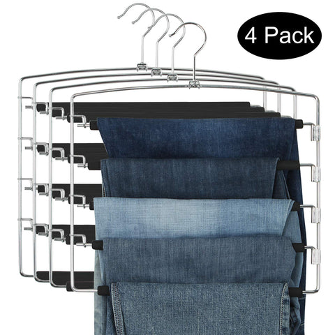 DOIOWN Pants Hangers Slacks Hangers Space Saving Non Slip Stainless Steel Clothes Hangers Closet Organizer for Pants Jeans Trousers Scarf (4-Pack(5 Layer-Upgrade Version))