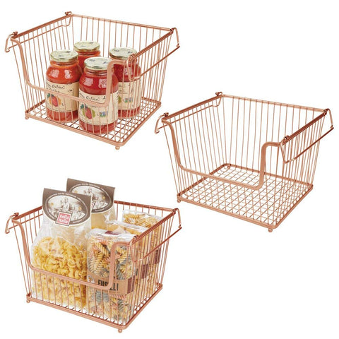mDesign Modern Stackable Metal Storage Organizer Bin Basket with Handles, Open Front for Kitchen Cabinets, Pantry, Closets, Bedrooms, Bathrooms - Large, 3 Pack - Copper