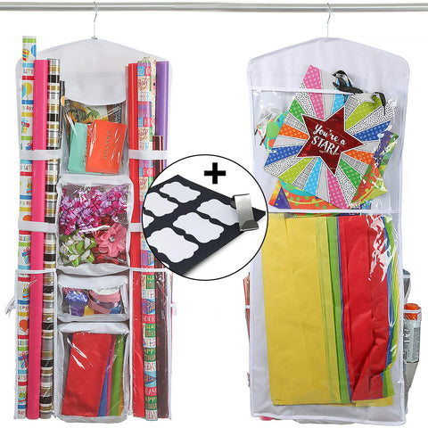 Clorso Vertical Wrapping Paper Storage with 1 Bonus Door Hook and 8 Labels