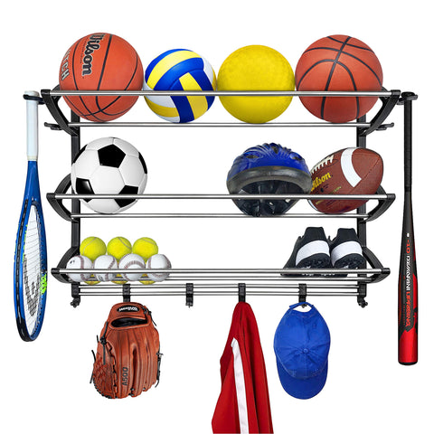 Lynk Rack Organizer Sports Gear Storage, Black