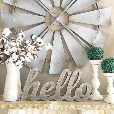 "Simple Farmhouse Tabletop Arrangement with ""hello"" in Script Letters"
