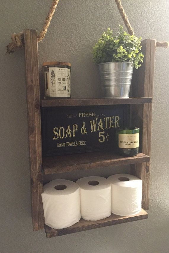 Rustic Hanging Bathroom Shelf with Throwback Sign