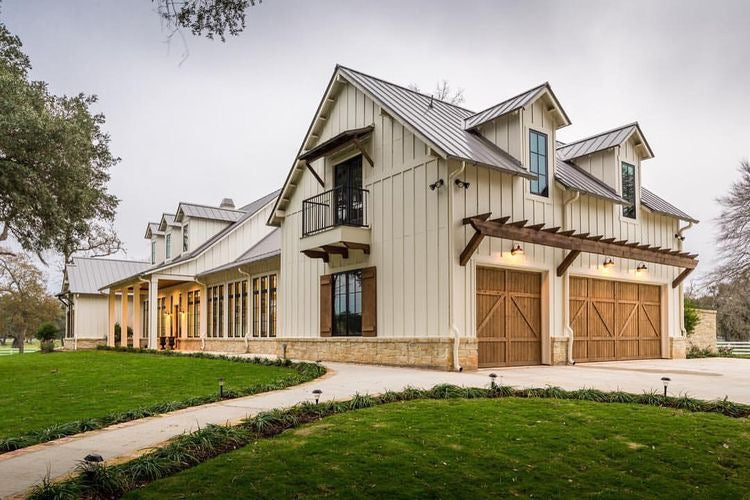 A Modern Farmhouse with a natural wooden curb appeal