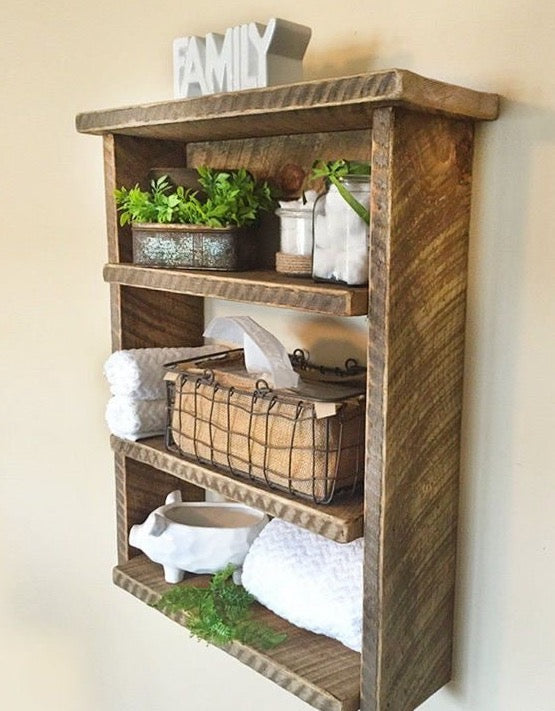 Cute Farmhouse Shelving Unit with Several Farmhouse Accents