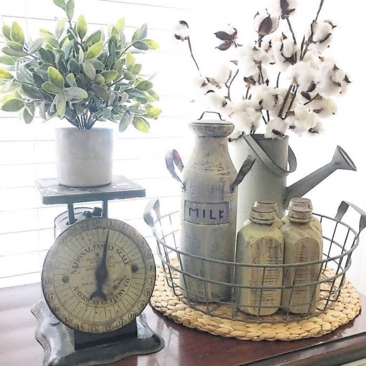 Rustic Antique Farmhouse Accents with Greenery and Blooms