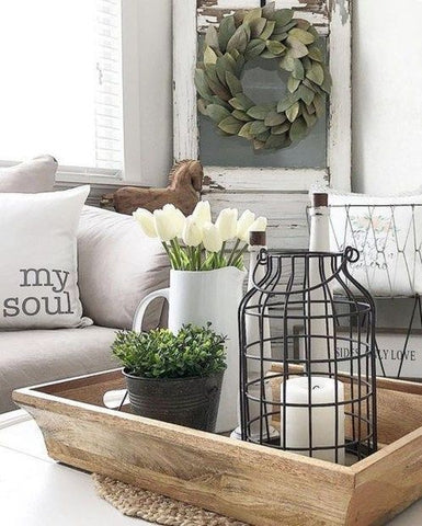 Light Wooden Tray and Farmhouse Coffee Table Decor