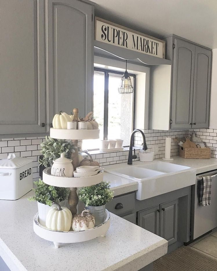 White 3 Tiered Stand with Cute Farmhouse Items