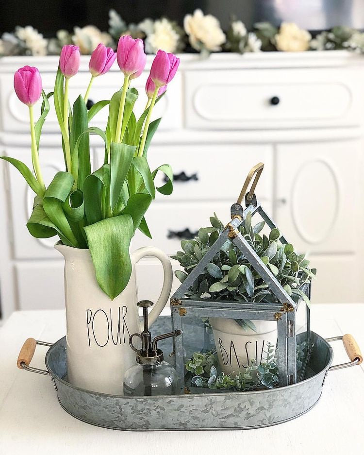 Farmhouse Decor with Pink Tulips