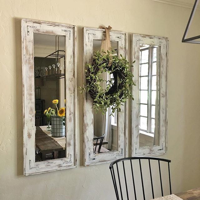3 Rustic Farmhouse Mirrors Side by Side with a Floral Wreath