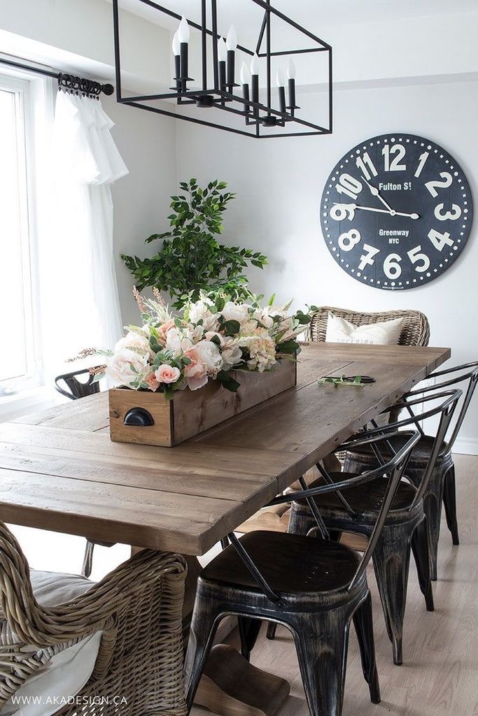 Wooden Rectangular Box Flower Planter for a Dining Room Table