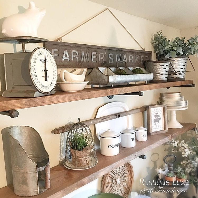 Double Open Shelving with Various Farmhouse Accents