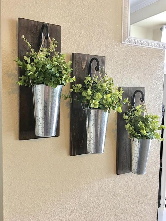 Three Wooden Hanging Metal Wall Planters