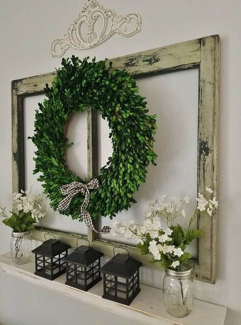 Rustic Wall Accent with Open Window and a Wreath