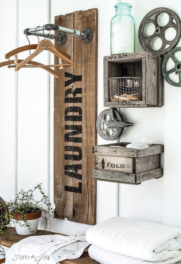 An Antique Country Twist to your Farmhouse Laundry Room