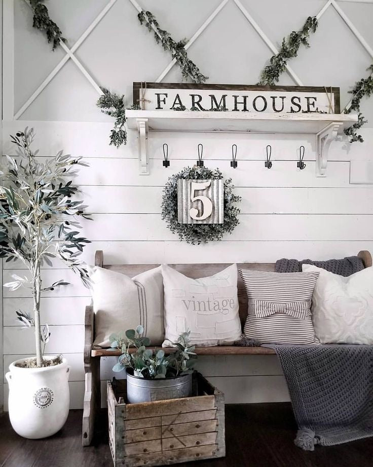Vintage Farmhouse Shelving with Shiplap and Greenery Accents