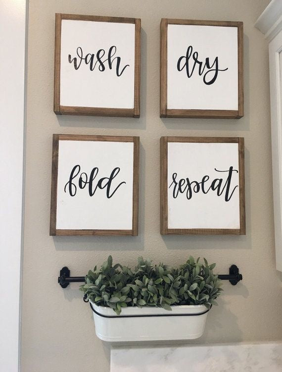 Cute Hanging Greenery with Four Frames with Script Lettering in a Grid