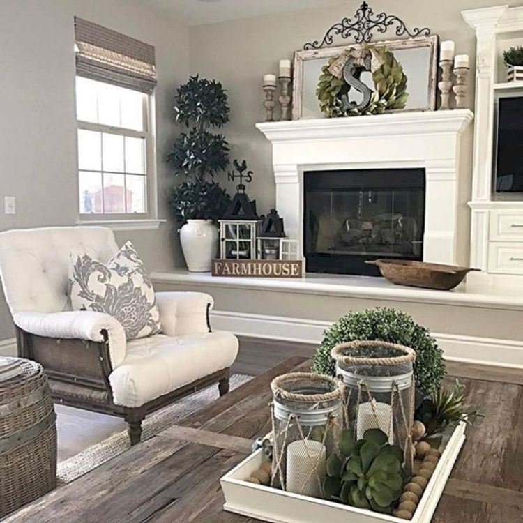 Clean and Elegant Farmhouse Coffee Table Centerpiece