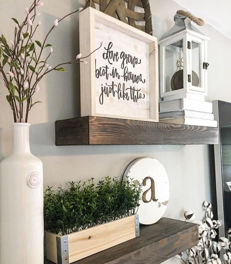 Thick Wooden Farmhouse Shelving