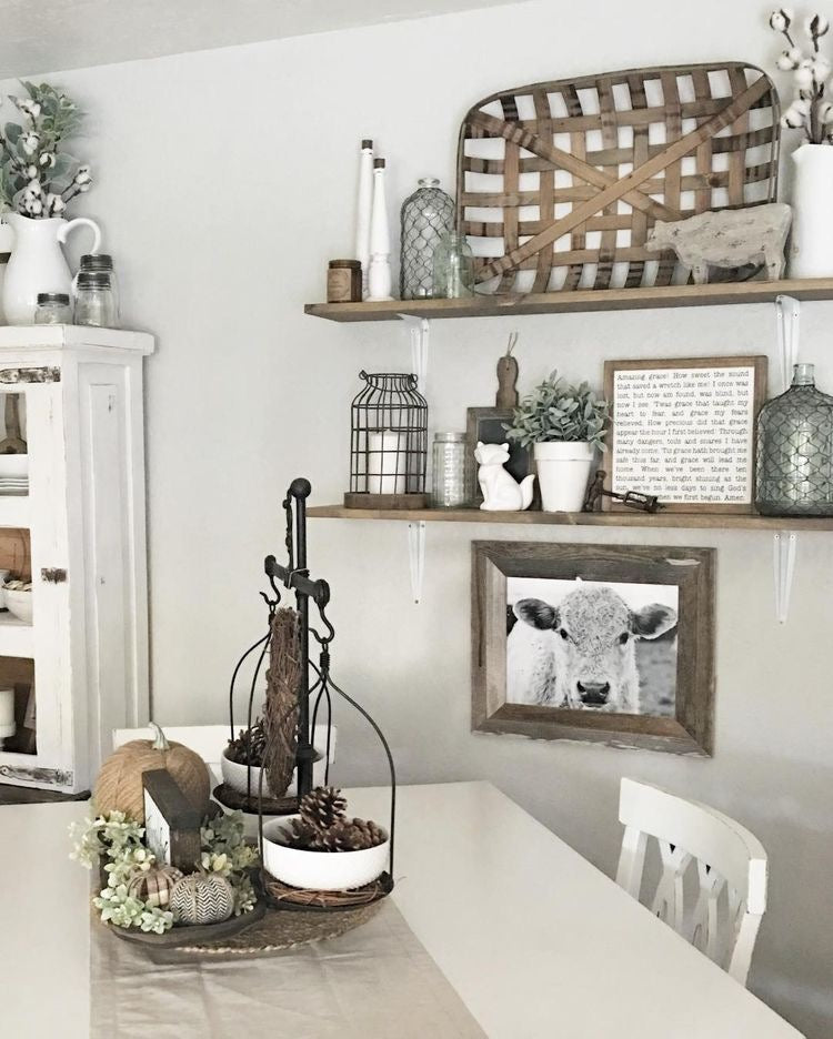 Farmhouse Open Shelving with Rustic Decor in a White Kitchen