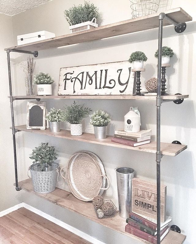 Rustic Industrial Wooden Farmhouse Shelving