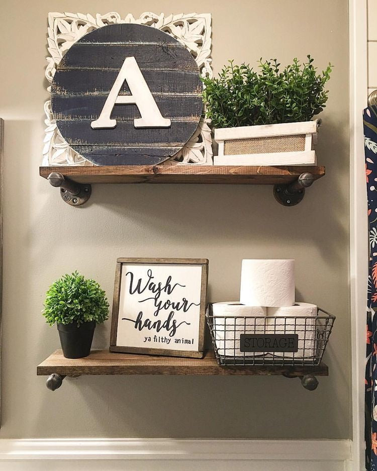 Minimal Wooden Floating Shelves with Farmhouse Decor