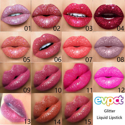 15 Colors Diamond Glitter Glossy Liquid Lipstick - Living MNML