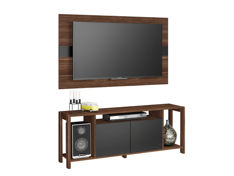 Mueble Combo Panel y Rack p/ TV 55' Nogal/Negro AZ1017.0002 - Apartamento22