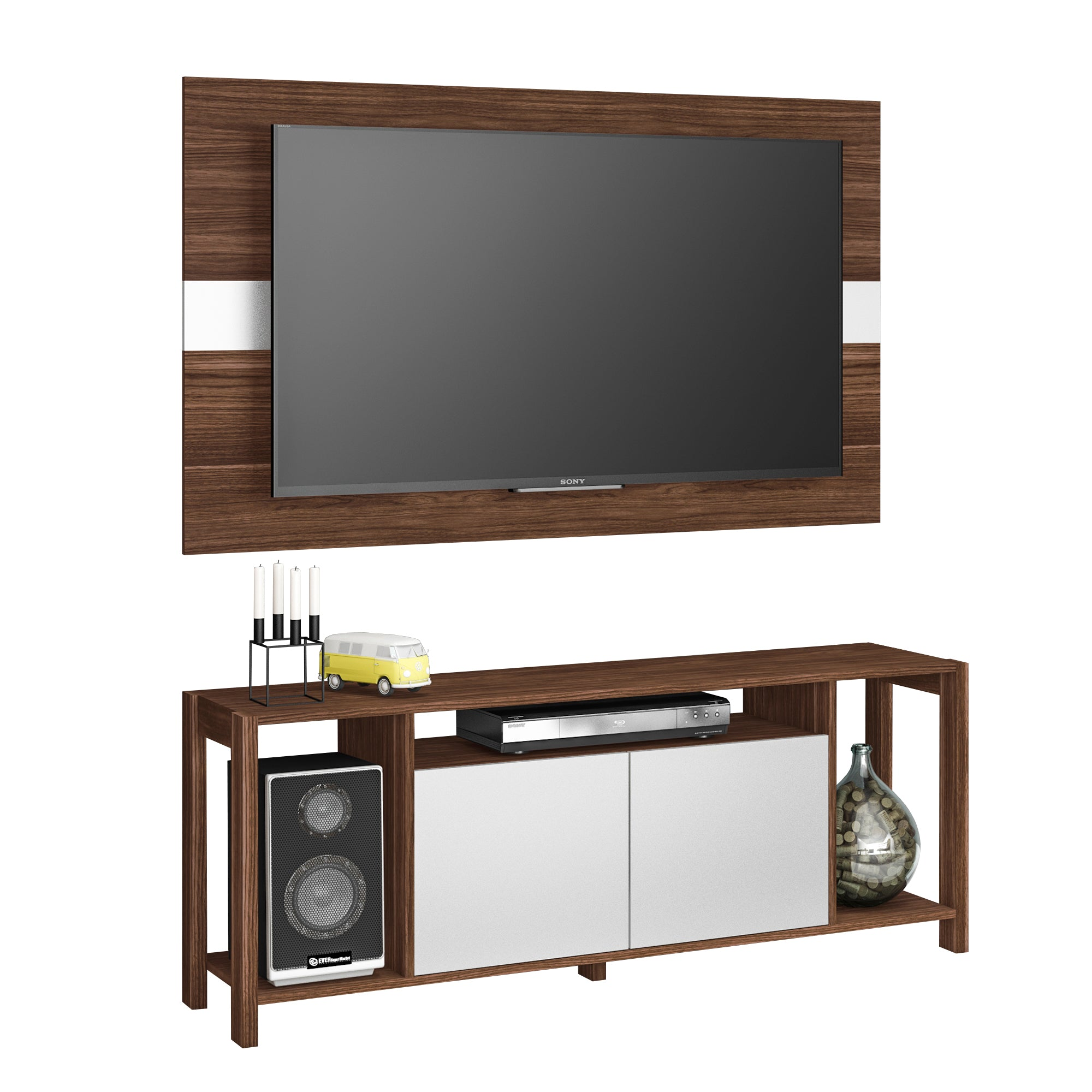 Mueble Combo Panel y Rack p/ TV 55' Nogal/Blanco AZ1017.0001 - Apartamento22