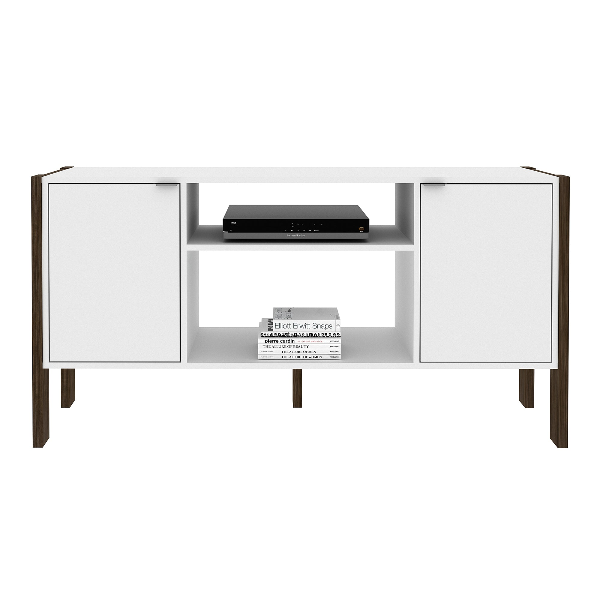Mueble Rack p/ TV Blanco/Nogal AZ1015.0001 - Apartamento22