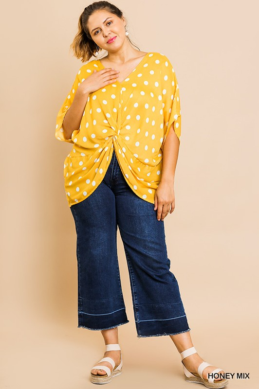 Yellow Polka Dot Knotted Blouse