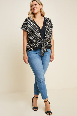 Printed Tie-Front Faux Wrap Top