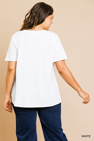 Round Neck Scoop Hem Top_White