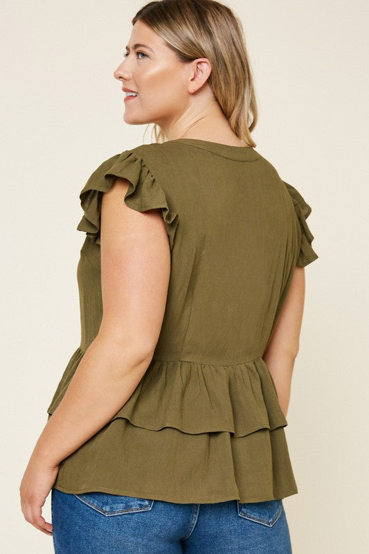 Button-Down Tiered Ruffle Hem Top