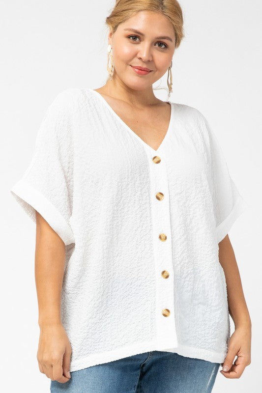 Crinkled Button Down Top