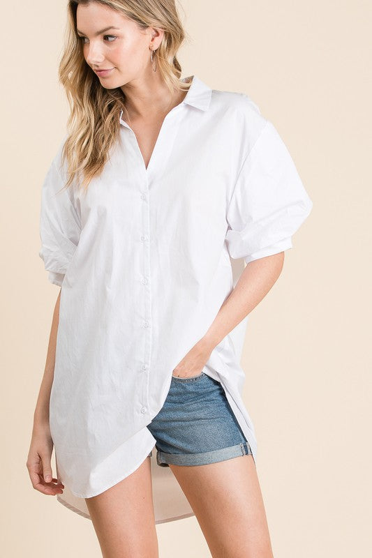 Crisp Button Down Puff Sleeve Top/Dress
