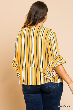 Striped Front Tie Blouse