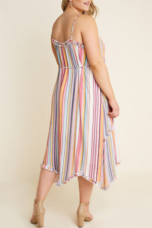 SALE! Striped Ruffle Midi Dress