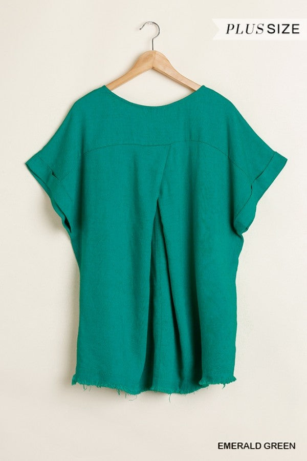 Frayed Top in Emerald Green