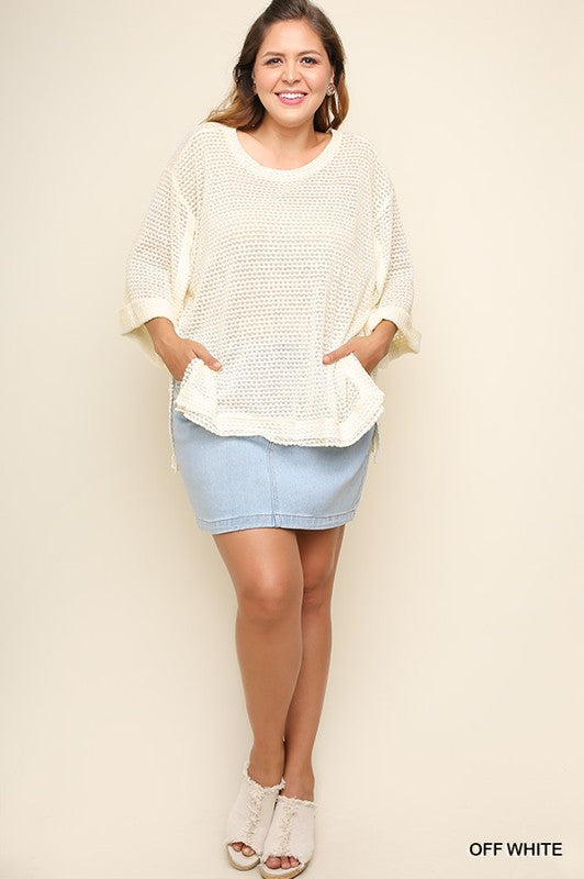 Waffle Knit Top with Rolled Sleeves
