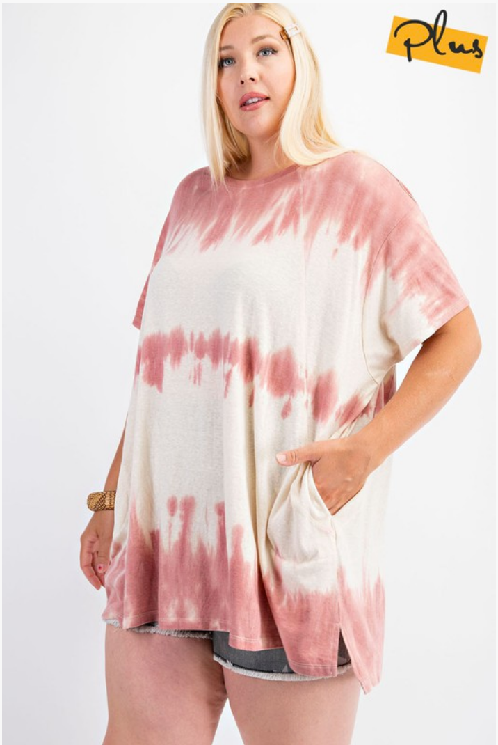 Tie dye Tee with Pockets in Mauve/Cream
