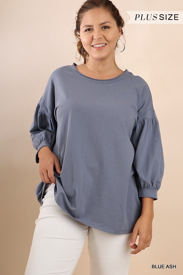 Balloon Sleeve Tee with Scoop Neck in Ash Blue