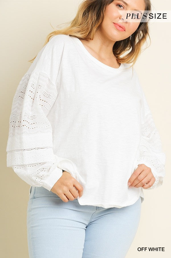 Eyelet Puff Sleeve Top in White