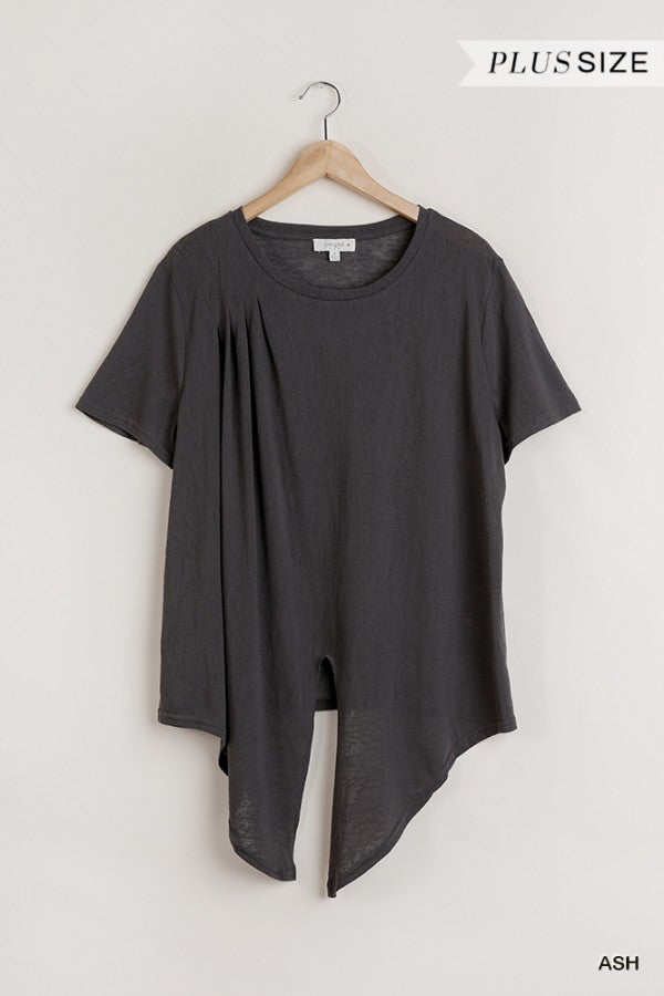 Flowy Round Neck Top with Front Knot in Grey