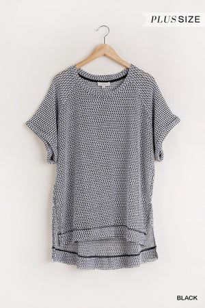 HiLow Waffle Knit Top in Black/White